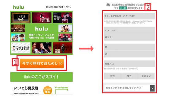 Hulu申し込み説明